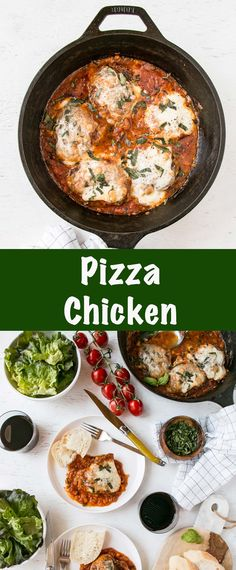 This Pizza Chicken is an easy chicken recipe for dinner. Packed with vegetables and delicious pizza flavour, this cheesy topped chicken thigh recipe is a family favourite. #easychickenrecipe #chickenthighrecipe