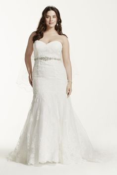 Extra Length Sweetheart Lace Trumpet Plus Size Wedding Dress