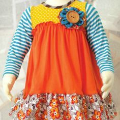 Molly&Millie Blue/Yellow/Orange/Brown Dress from Freckles Children's Boutique for $50.00
