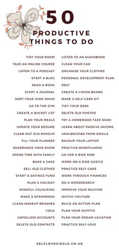 50 productive things to do when you're bored. Manage your time and find your motivation with these 50 things to do. Productive Things To Do, Things To Do At Home, Organisation Journal, Organization, Things To Do When Bored, Random Things To Do, Things To Do Alone, Self Care Bullet Journal, Vie Motivation