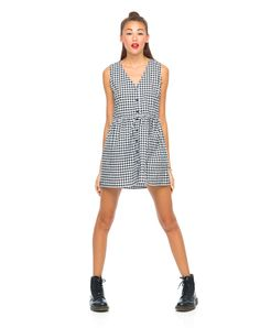 Motel Dakota Sleeveless Dress in Check Black and White, TopShop, ASOS, House of Fraser, Nasty gal