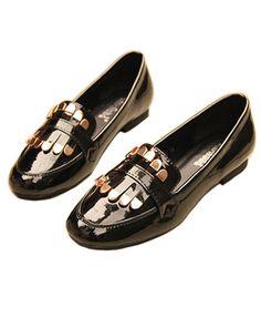 Vintage Patent Flat Shoes with Metal Fringe in Black