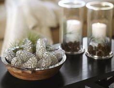 Knockoff Pottery Barn Glitter & Snow Pinecones - Blissfully Ever After
