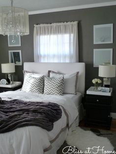 Beautiful gray bedroom... I'm in love with greys for decor right now! Theme for my new house