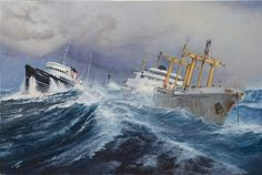 Too Close For Comfort Nautical Painting, Nautical Art, Too Close For Comfort, Ship Paintings, Merchant Navy, Boat Art, Tug Boats, Ship Art, Model Ships