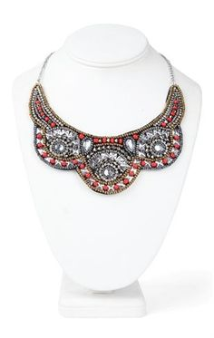 Deb Shops Short Statement Necklace with Multicolored Tribal Bead Design $6.00