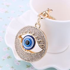Charm Rhinestone Big Blue Eyes car Keychains Crystal Keyring gold-plated women bag Pendant Jewelry Creative Souvenir gifts