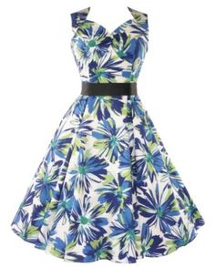 50's 60's Retro Floral Summer Dress White & Blue: Amazon.co.uk: Clothing