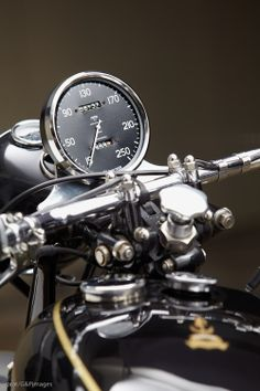 The large single clock on a Vincent Black Shadow is almost as much a Vincent Icon as their lovely engine.