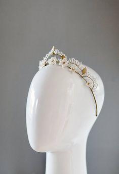 Gold Bridal Crowns, Bridal Tiara, Bridal Earrings, Flower Tiara, Bridal Hair Pins, Hair Beads, Wedding Hair Pieces, White Earrings, Tiaras And Crowns