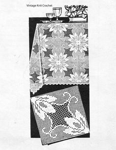 Vintage Filet Crochet Square Pattern, 7 or inches are joined for tablecloth, bedspreads, runner. Crochet Flower Squares, Crochet Square Patterns, Crochet Flowers, Filet Crochet Charts, Crochet Tablecloth, Crochet Art, Vintage Knitting, Vintage Designs, Pattern Design