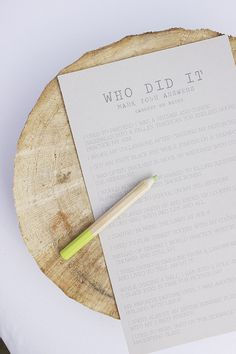 """""""Who did it?"""" questionnaire for the bridal shower or baby shower."""