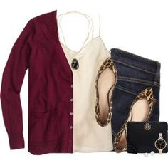 crew burgundy cardigan & silk cami with leopard flats - Outfits for Work - J.crew burgundy cardigan & silk cami with leopard flats - Mode Outfits, Casual Outfits, Fashion Outfits, Fashion Mode, Work Fashion, Fashion Trends, Ballerine Leopard, Leopard Flats Outfits, Style Floral