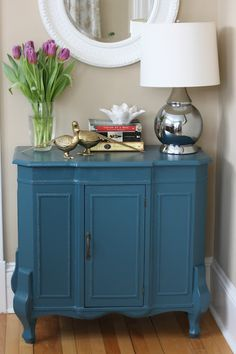 painted cabinet plumage by martha stewart-totally painting a cabinet this color!  We just used the exact color in the gallery!