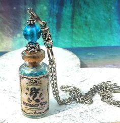 Mermaid Wish Glass Vial Bottle Pendant Necklace by AdornaJewellery