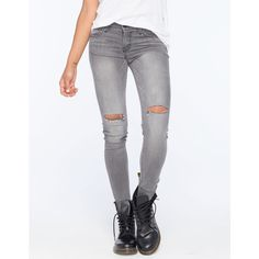 Flying Monkey Knee Slit Womens Skinny Jeans ($45) ❤ liked on Polyvore featuring jeans, pants, grey, flying monkey skinny jeans, cut skinny jeans, skinny fit jeans, zipper skinny jeans and gray skinny jeans