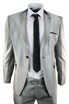 Mens Shiny Sliver Black Trim Slim Fit 1 Button Party Wedding Prom Suit. Limited edition Hurry up!!!  #suits #clothing #fashion #menswear #mensstyle #shopping #online