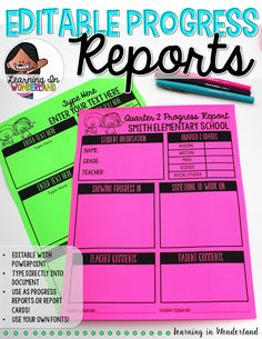 Editable progress reports that focus on the positives!