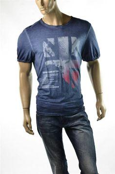 Buffalo T-shirt David Bitton Tee Blue Crew Nifty Graphic T Shirt Sz XL NWT