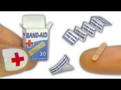 Miniature doll band-aid or adhesive bandages strips and box tutorial - Dollhouse DIY - YouTube