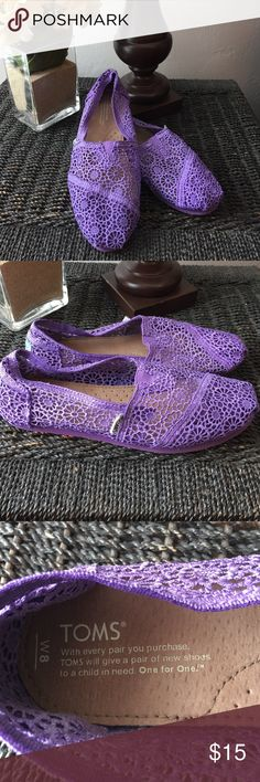 Toms Purple Lace Shoes Toms Purple Lace Shoes. Worn only once. Size 8. TOMS Shoes Flats & Loafers