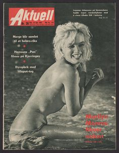 Marilyn Monroe on the cover of Aktuell magazine, June 23, 1962, Norway. Cover photo of Marilyn on the set of Something's Got To Give, 1962.