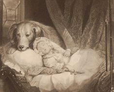 Keeping Guard, antique print, Victorian, an engraving from circa 1880 after the original painting by T Woolnoth. The print is part of a set of engraving that where commissioned to show works that had been exhibited at the National Gallery, Royal Academy and where printed by the London Print and Publishing Company around 1880. We have this print and one more similar style by Woolnoth on our site currently, hard to find. Antique Prints, Original Paintings, Victorian, London, Printed, Antiques, Gallery, Dogs, Animals