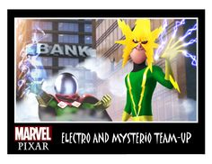 Electro and Mysterio Team-Up - Pixar Invades the Marvel & DC Comics Universe.  Artwork by Phil Postma.