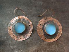 Copper Big Round Blue Frosty Glass Earrings  by Mary Bulanova