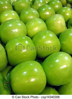 Granny Smith apples, all in rows.