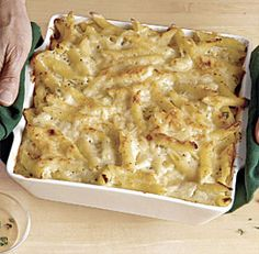 Baked Penne With Cauliflower And Cheese Recipe Courtesy Ellie Krieger (Fine Cooking) | Cauliflower and cheese are a classic combination, and here they come together in a sophisticated take on macaroni and cheese. The cauliflower adds flavor and beneficial nutrients, and it lightens up the calorie count of each portion.