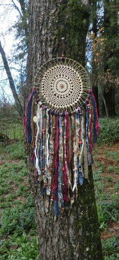 Gypsy/ Bohemian/ Doily/ Dream Catcher/ Wall by JillsCuriosities