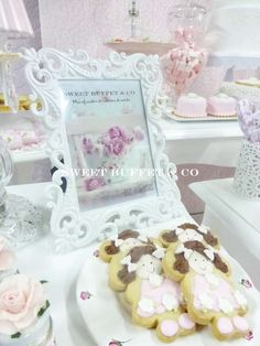 Valentina's 7th Birthday   CatchMyParty.com 7th Birthday, Birthday Parties, Birthday Ideas, Shabby Chic Birthday Party Ideas, Sweet Buffet, Cute Cookies, Vintage Bridal, Bridal Showers, Cupcakes