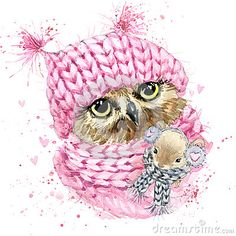 Cute Owl T-Shirt Graphics, Watercolor Owl And Mouse Illustration With Splash Watercolor Textured Background. Illustration Watercolor Winter Owl For Fashion Print, Poster For Textiles, Fashion Design - 357546203 : Shutterstock Watercolor Owl, Watercolor Texture, Watercolor Animals, Splash Watercolor, Maus Illustration, Watercolor Illustration, Illustrations, Chibi Kawaii, Owl Pictures