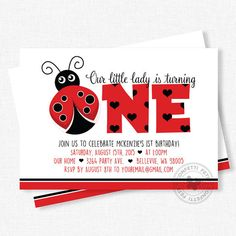 Ladybug Birthday Invitation First Birthday by ConfettiFete on Etsy