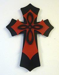 Medium Layered Black/Red Cross