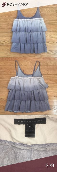 """Marc by Marc Jacobs. Tiered Ruffles Tank Top Women's size XS. Marc by Marc Jacobs. Pre Owned with little to no signs of wear. Beautiful Beige and Lavender/Grey Layers of Ruffles. Bust approx 16"""" Marc by Marc Jacobs Tops Tank Tops"""