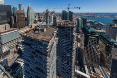 The rising Harbour Plaza towers under construction in Toronto's South Core