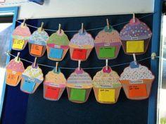 Birthday Calendar Cupcakes - Laminate + Post it --> Use it every year! Birthday Display, Birthday Wall, Birthday Board, Birthday Cupcakes, Birthday Calendar Classroom, Birthday Bulletin Boards, Classroom Organisation, Classroom Displays, Classroom Decor
