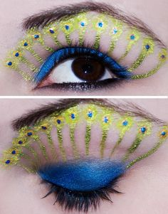 20 + Peacock Feather Inspired Eye Make Up Designs, Ideas & Looks Peacock Eye Makeup, Dramatic Eye Makeup, Beautiful Eye Makeup, Beautiful Eyes, Amazing Makeup, Makeup Crafts, Makeup Art, Makeup Tips, Makeup Ideas