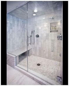 Bathroom decor for the master bathroom renovation. Learn master bathroom organization, master bathroom decor tips, bathroom tile ideas, bathroom paint colors, and more. Shower Tile Designs, Bathroom Designs, Master Shower, Steam Showers Bathroom, Steam Room Shower, Glass Showers, Shower Bathroom, Tile Showers, Marble Showers