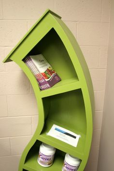 This is one of the coolest bookshelves I have ever seen. I love the idea of it, and also, as shown, it is still pratical as a bookshelf. I also like green.