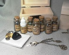 """Hedge Witch Apothecary Herbs And More """"Little Nightshade"""" Box Set. Small Plastic Bottles, Magick, Wicca Witchcraft, Witch Bottles, Hedge Witch, Infused Oils, Wooden Chest, Little Gifts, Apothecary"""