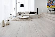 If you want to liven up your home for spring, wood flooring can transform each room and update tired decor in a flash. Wood floors add instant panache to living rooms, update old fashioned bathrooms, boring bedrooms and hapless hallways. Rustic Wood Floors, White Wood Floors, White Flooring, Hardwood Floors, Grey Hardwood, Plank Flooring, Light Wood Flooring, Timber Flooring, Painted Floors