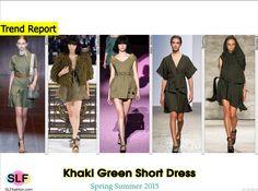 Khaki Green Short DressTrend for Spring Summer 2015. Gucci, John Galliano, Marc Jacobs, Sportmax, and Nicholas K Spring Summer 2015. #Fashion #SS2015 #SS15