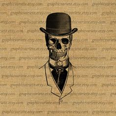 Skull Skeleton Steampunk Top Hat Clothes by GraphicVariete on Etsy, $1.00