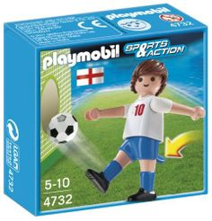 Playmobil 4732 England by Playmobil. $2.63. CHOKING HAZARD - Toy contains a small ball. Not for children under 3 yrs.. Recommended Age: 5 - 10 years. Display your team spirit with the soccer player from England. Set includes one figure with leg that kicks and soccer ball. Recommended ages five to ten. Warning. Choking Hazard. Contains a small ball and small parts. Not for children under 3 years.