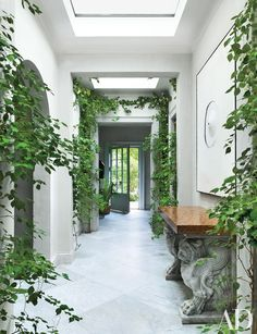 In lieu of a typical foyer, visitors step into a greenhouselike space that flows into a long gallery punctuated with skylights and flanked by the kitchen and master suite.