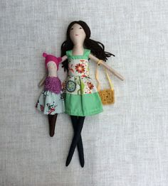 Fabric dollDress up doll Mom Daughter dolls doll set by Dollisimo