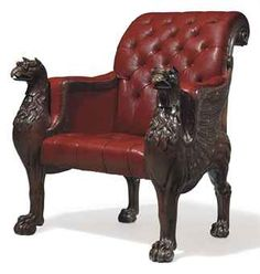 Regency Carved Oak Library Bergere with griffins / with button-tufted red leather upholstery & brass pads under feet / c. I don't care for the chair, but like the griffons. Regency Furniture, Gothic Furniture, Leather Furniture, Antique Furniture, Italian Furniture, Victorian Homes, Victorian Era, Love Chair, Antique Chairs